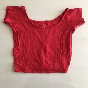 Red mid-rise shirt